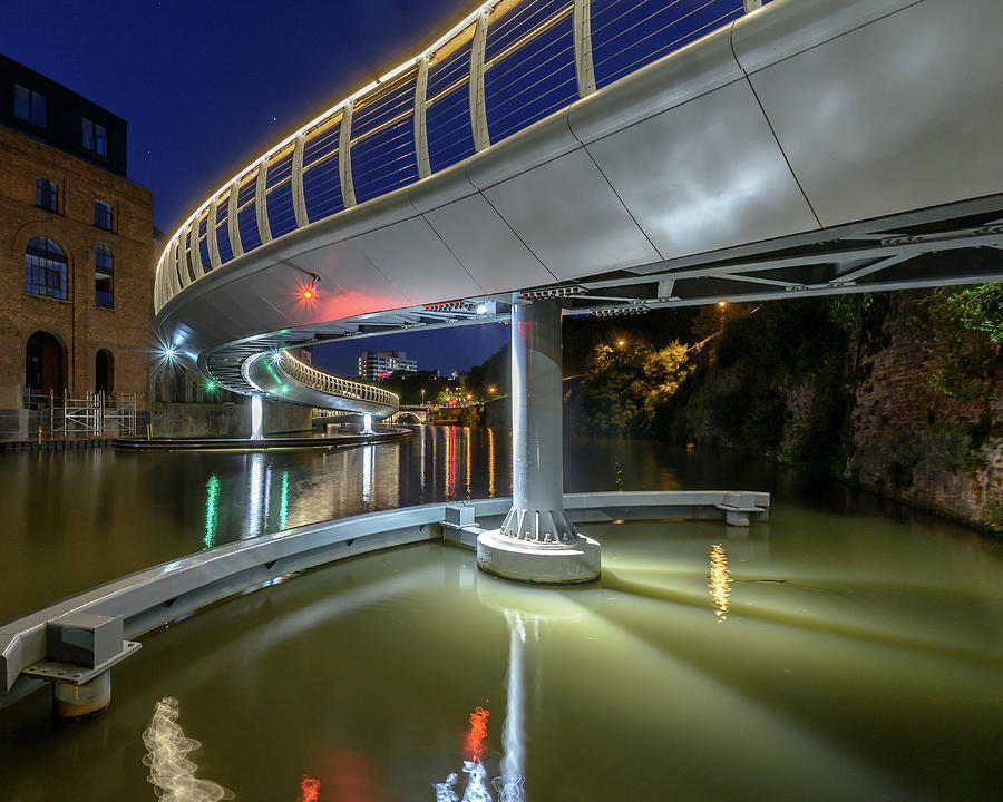 Architecture Photograph - Castle Bridge C By Night Bristol England by Jacek Wojnarowski
