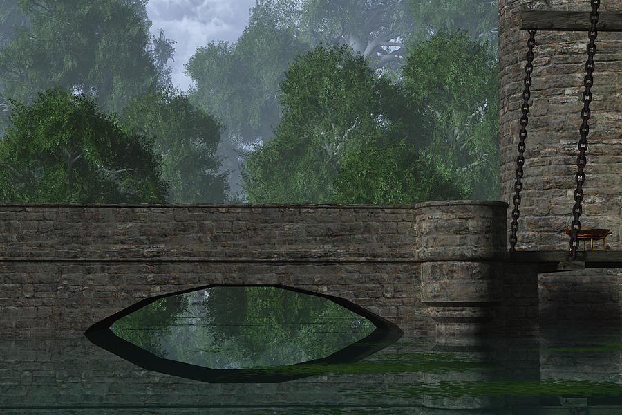 Castle Digital Art - Castle Bridge by Mindscape Arts