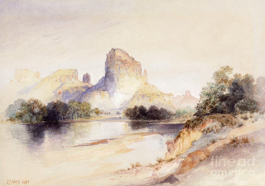 Castle Butte Painting - Castle Butte, Green River, Wyoming by Thomas Moran
