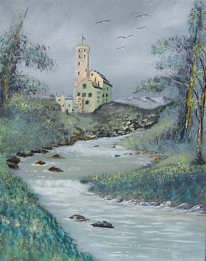 Castle Painting - Castle by Stream by Tony Rodriguez