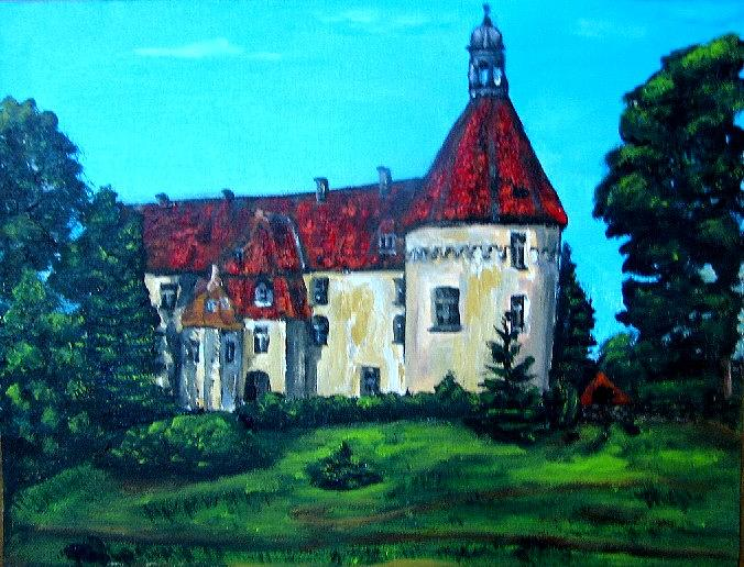 Old Town Painting - Castle Ciityscape Acrylic Painting by Natalja Picugina