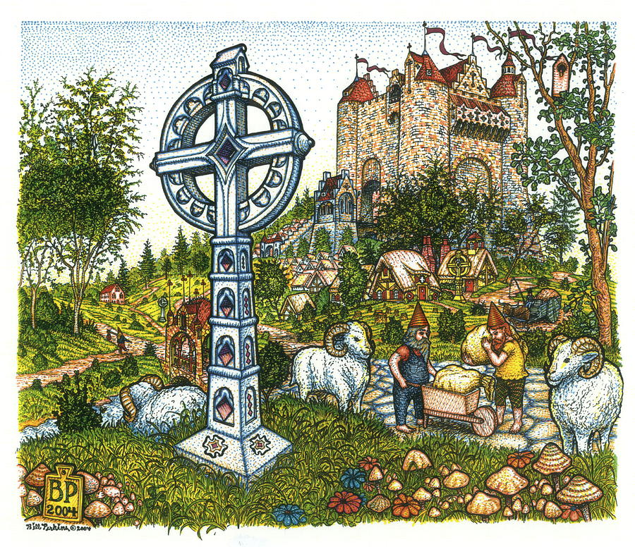 Castle Drawing - Castle Cross by Bill Perkins