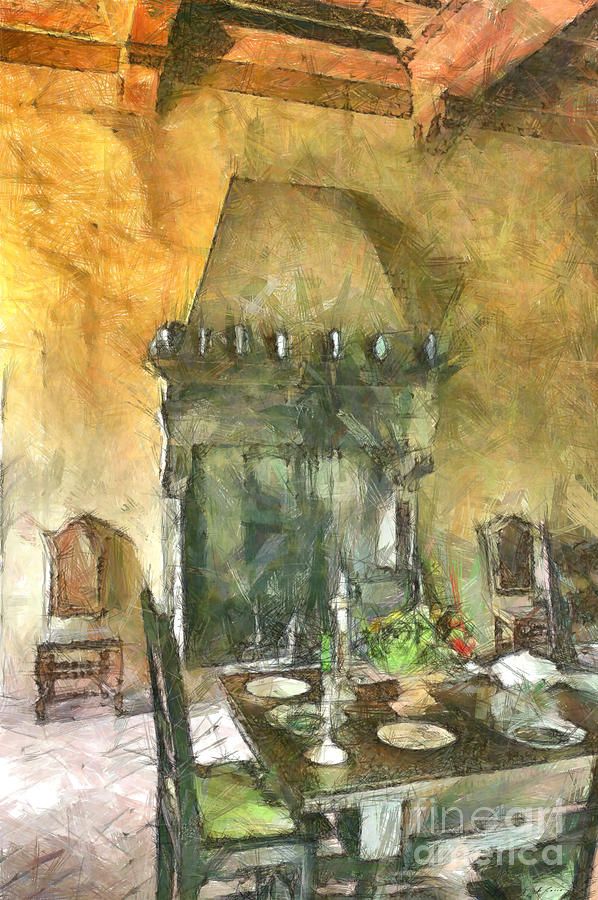 Castle dining room with fireplace by Giuseppe Cocco
