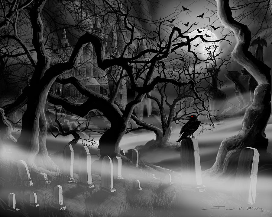 castle graveyard i painting by james christopher hill. Black Bedroom Furniture Sets. Home Design Ideas
