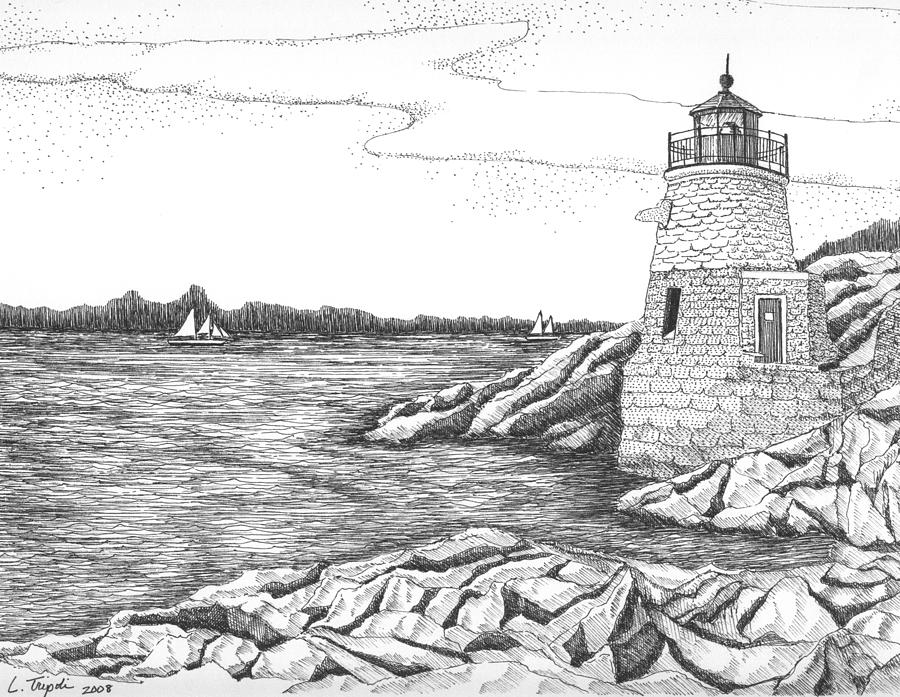 Castle Hill Lighthouse Drawing By Lawrence Tripoli