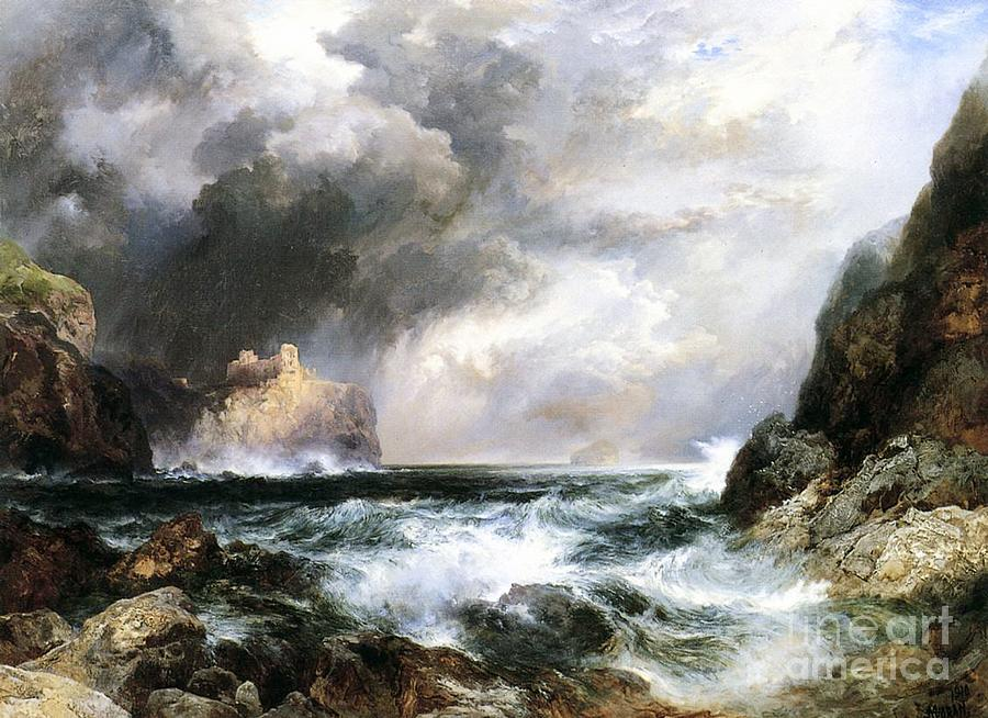 Waves Painting - Castle In Scotland by Thomas Moran