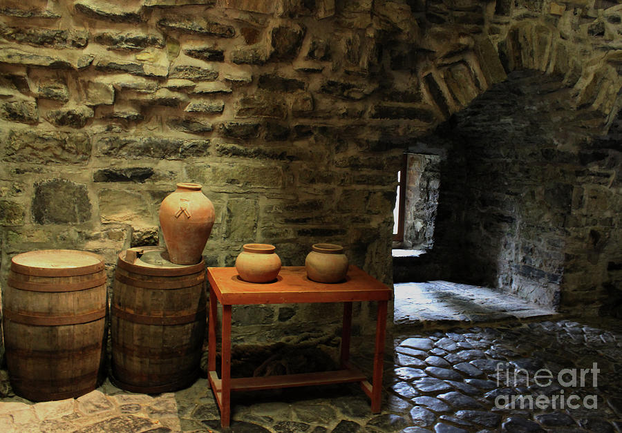 Donegal Castle Interior with Barrels and Pots by Eddie Barron
