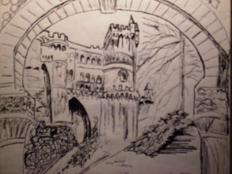 Landscape Drawing - Castle by Karen Salley-Rice