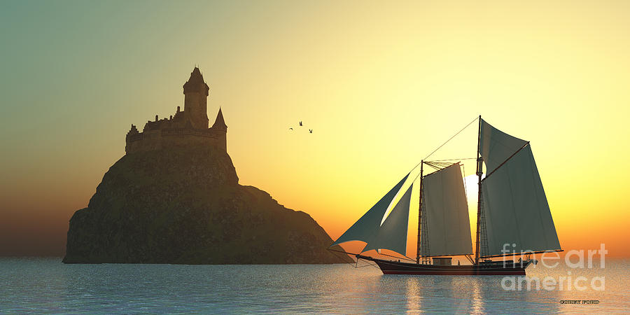 Sailing Ship Painting - Castle On The Sea by Corey Ford