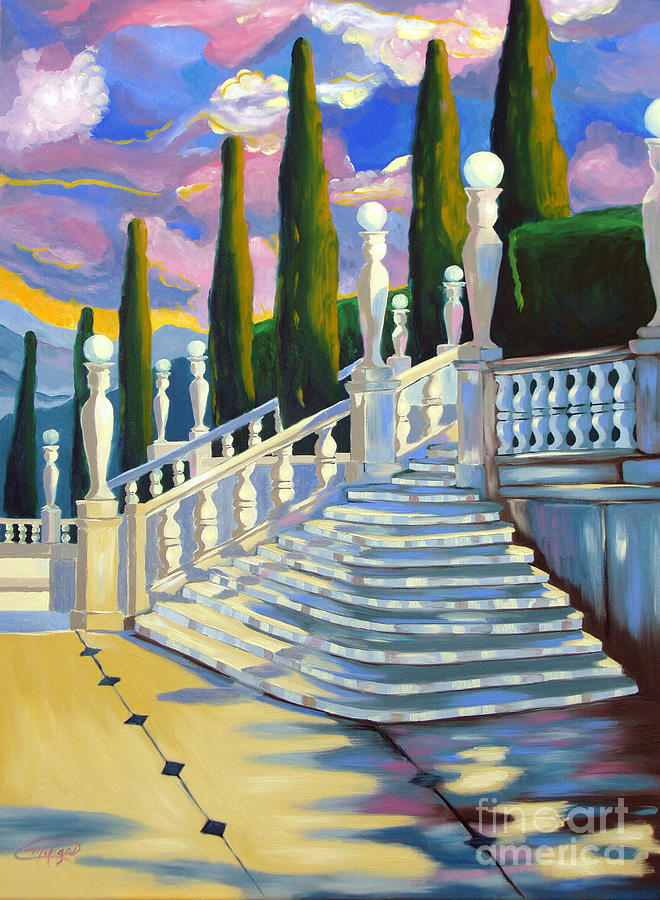 Landscape Painting - Castle Patio 1 by Milagros Palmieri