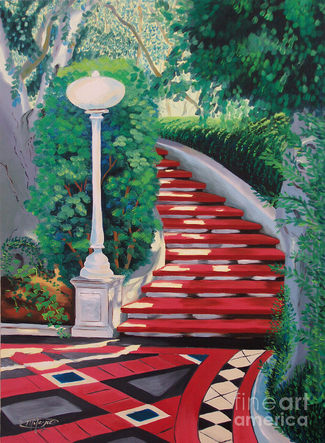 Landscape Painting - Castle Patio 2 by Milagros Palmieri