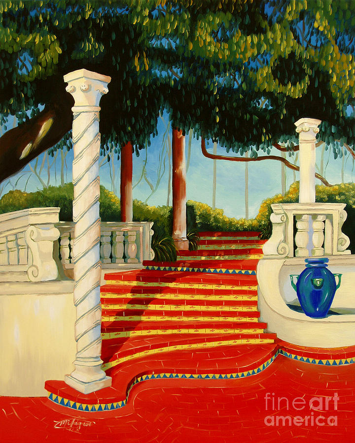 Landscape Painting - Castle Patio 3 by Milagros Palmieri