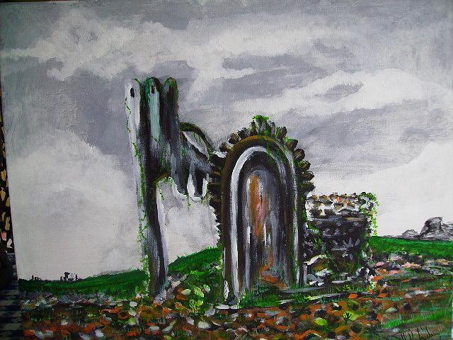 Landscape Painting - Castle Ruin by Karen Salley-Rice