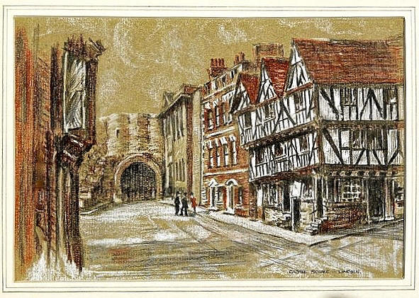 Medieval Architecture Drawing - Castle Square Lincoln by SJV Jeffery-Swailes
