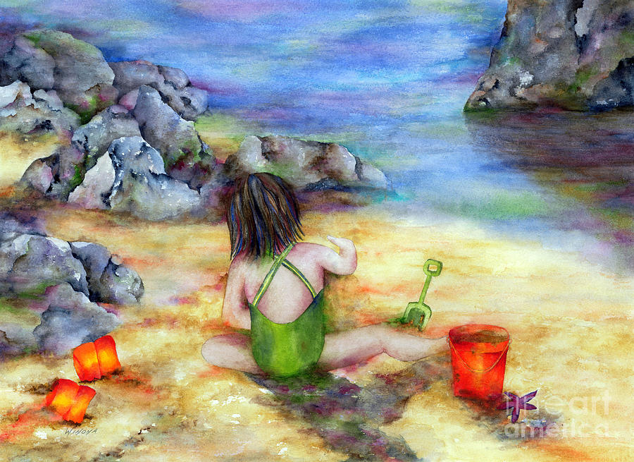 Child Painting - Castles In The Sand by Winona Steunenberg