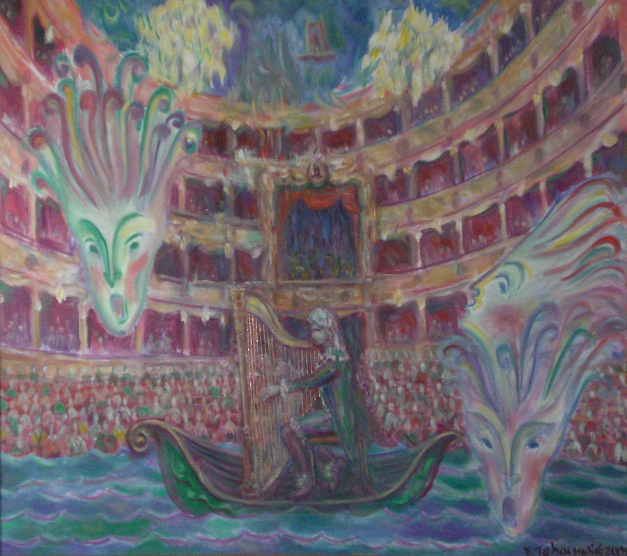 Water Theater Painting - Castrati. Farinelli Playing Harp. by Edward Tabachnik