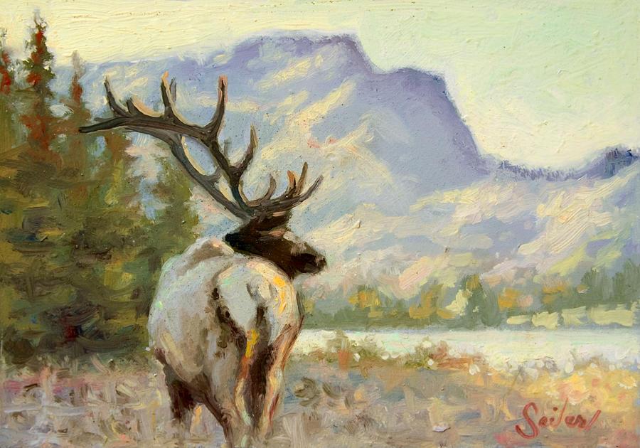Wildlife Painting - Casual Walk Elk by Larry Seiler
