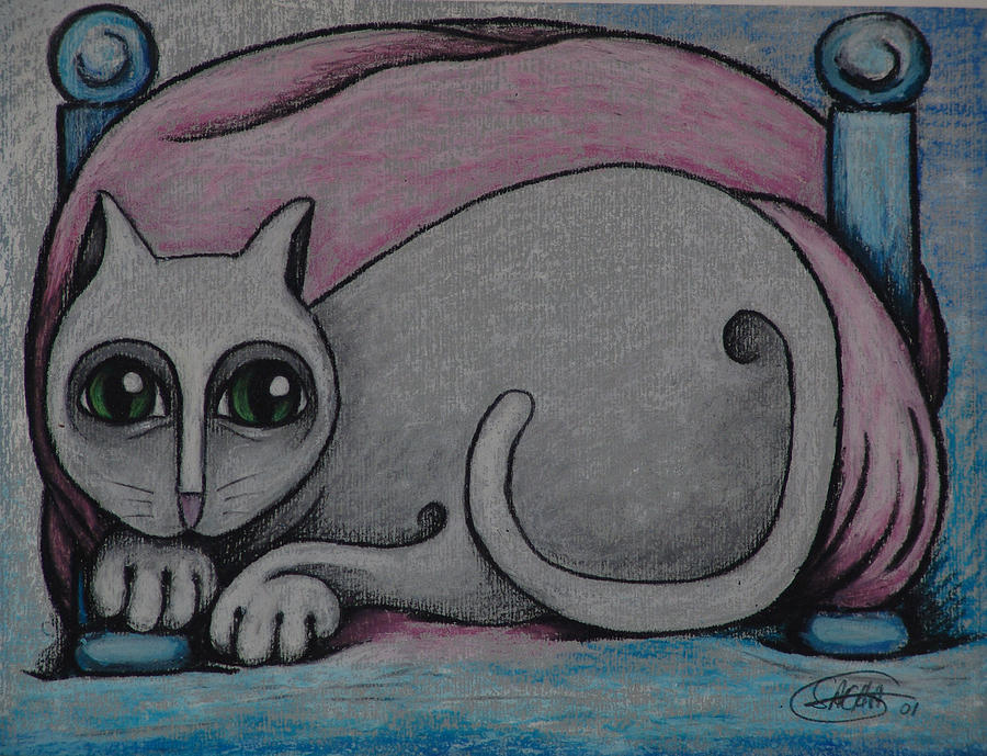Cat  2001 Drawing by S A C H A -  Circulism Technique