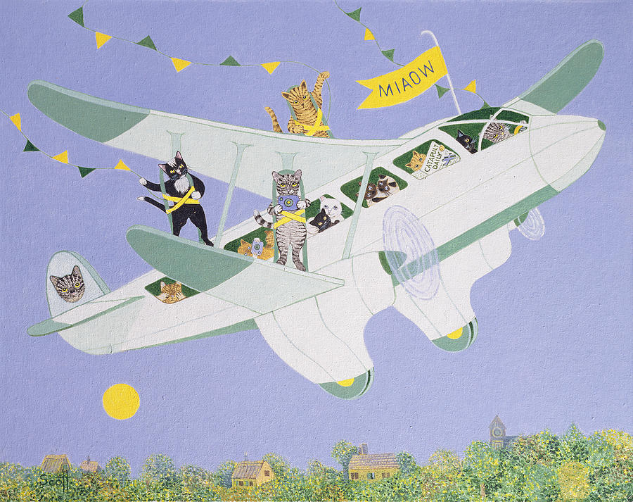 Cat Painting - Cat Air Show by Pat Scott
