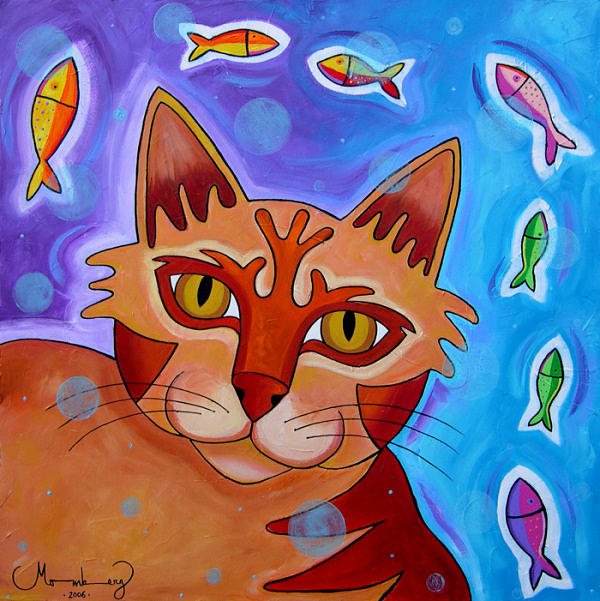 Painting Painting - cat Allucinations by Karin Momberg