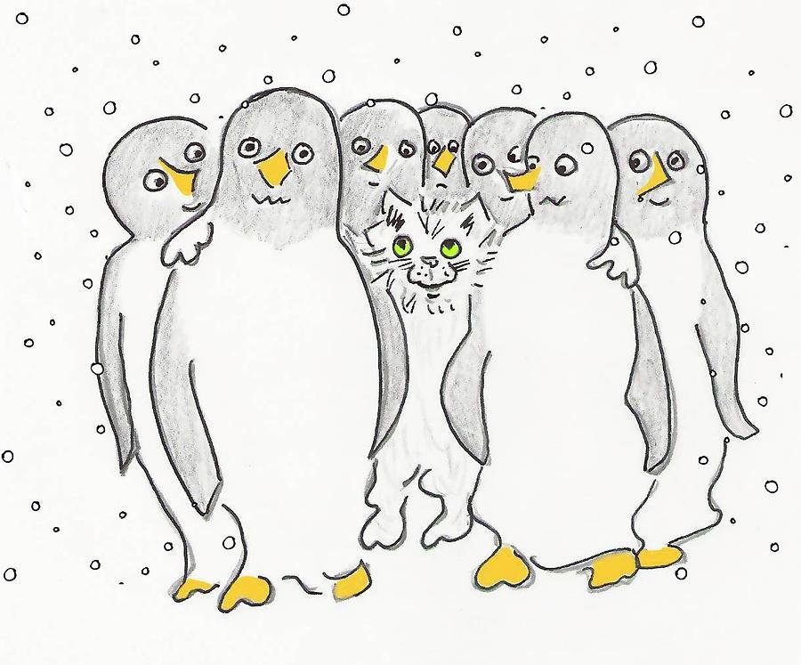 Christmas Card Drawing.Cat Among The Penguins Christmas Card