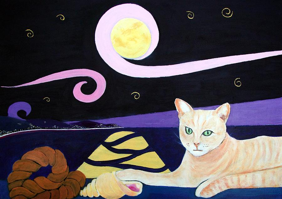 Cat And Conch Painting