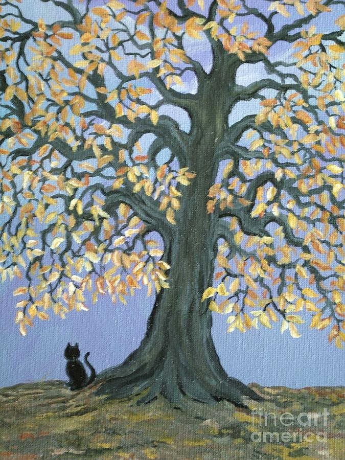 Cat Painting - Cat And Crow by Nick Gustafson