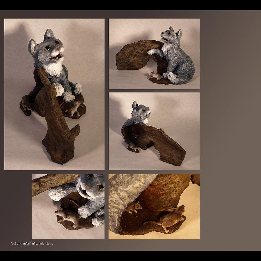Cat Sculpture - Cat And Mice Alternate Views by Katherine Huck Fernie Howard
