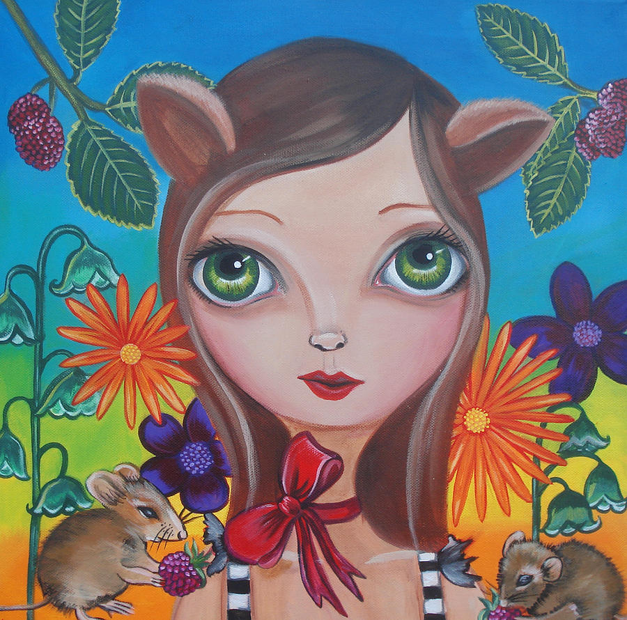 Cat Painting - Cat And Mouse by Jaz Higgins