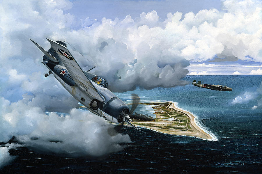 Military Painting - Cat And Mouse Over Wake by Marc Stewart