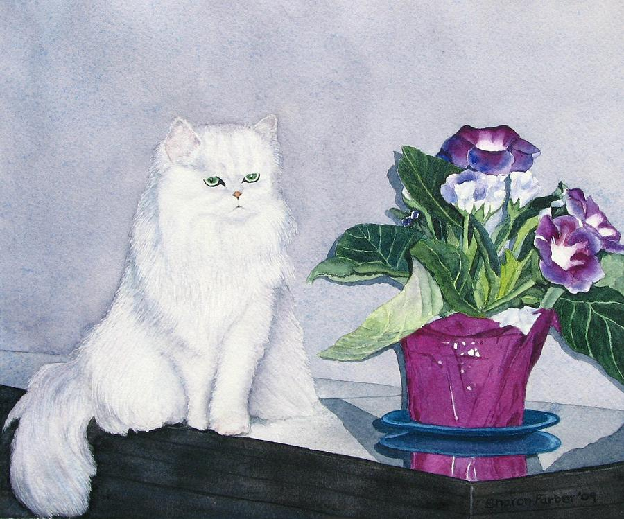 Cat Painting - Cat And Potted Plant by Sharon Farber