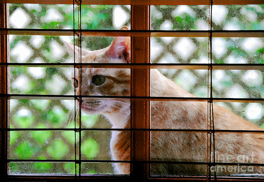 Feline Painting - Cat At The Window by David Lee Thompson