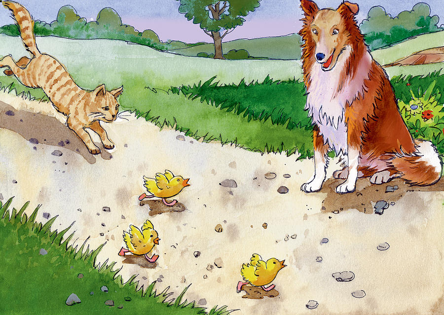 Watercolor Painting - Cat Chasing Chicks by Valer Ian