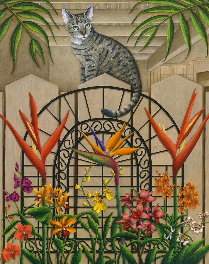 Gray Tabby Cat Painting - Cat Cheetahs Fence by Carol Wilson
