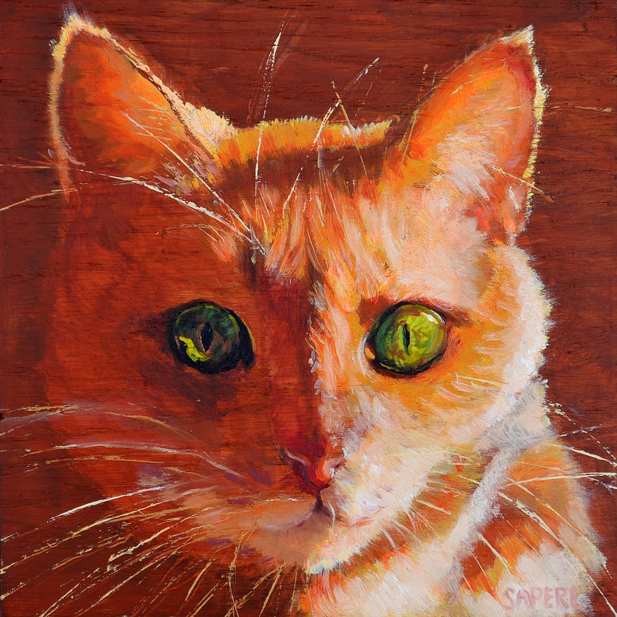Cat Painting - Cat Eyes by Lynee Sapere