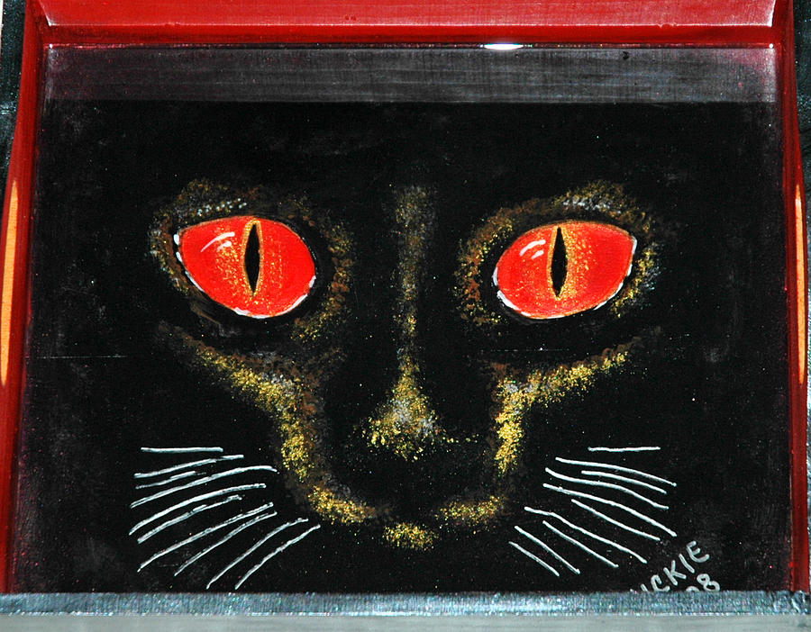 Red Eyes Mixed Media - Cat Eyes by Mickie Boothroyd