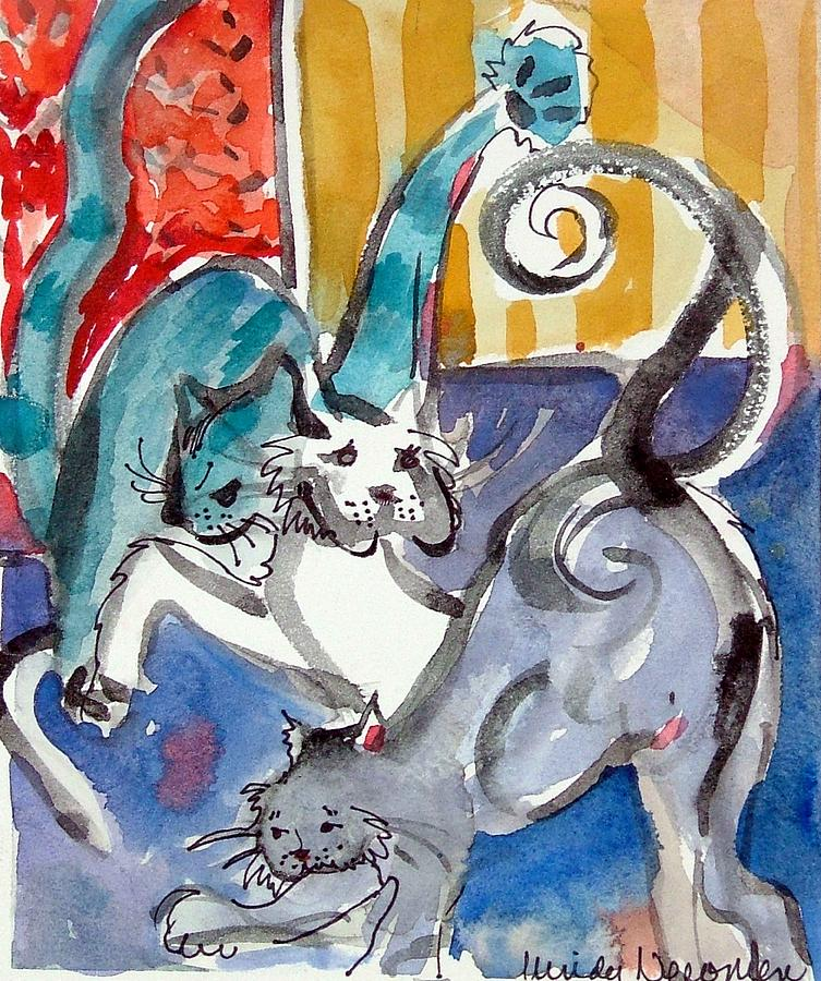 Cat Painting - Cat Fight by Mindy Newman