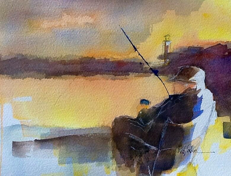 Fisherman Painting - Cat Fishin  by Robert Yonke