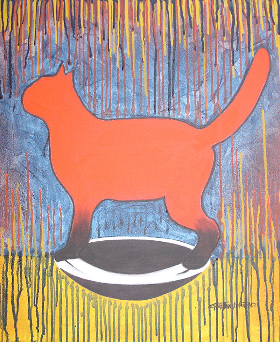 Cat Painting - cat by Geetha Kekobad