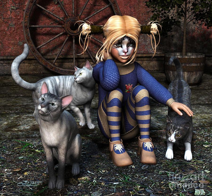 3d Digital Art - Cat Girl by Jutta Maria Pusl