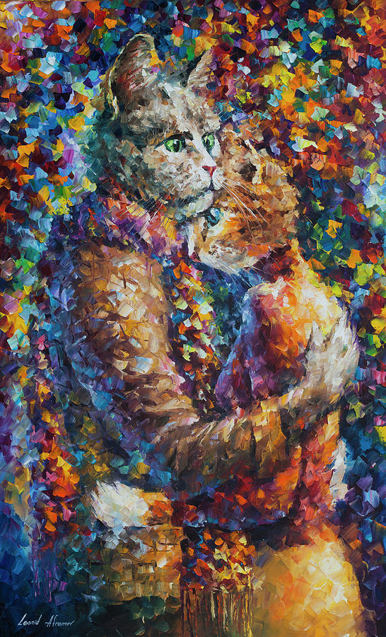 Painting Painting -  Cat Hug   by Leonid Afremov