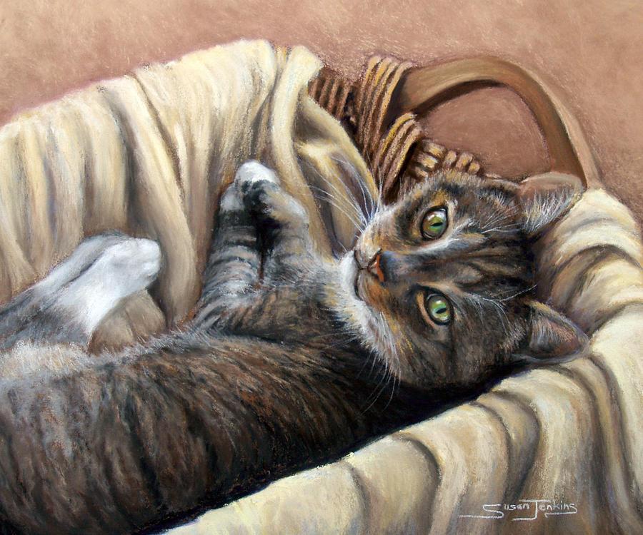 Animal Pastel - Cat In A Basket by Susan Jenkins
