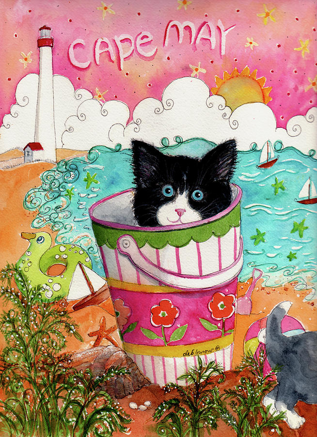 Cats Painting - Cat In A Pail by Deborah Burow