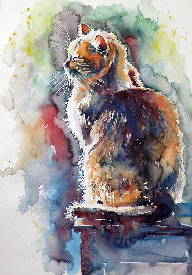 Cat Painting - Cat in backlight by Kovacs Anna Brigitta