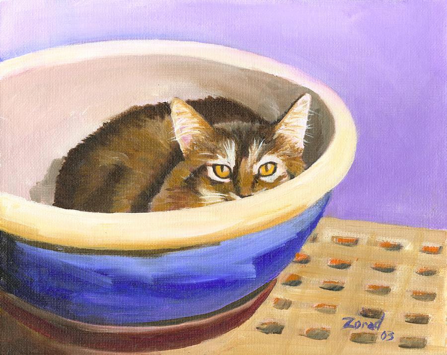 Cat in Bowl by Mary Jo Zorad