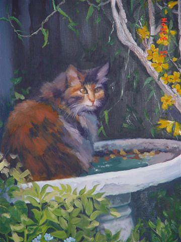 Cat Painting - Cat In Bridbath by Carmen Bittenger