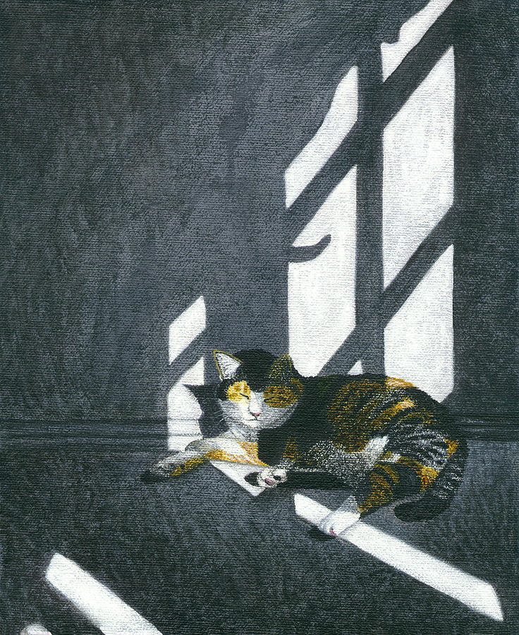 Calico Tabby Cat Painting - Cat In Empty Room by Carol Wilson