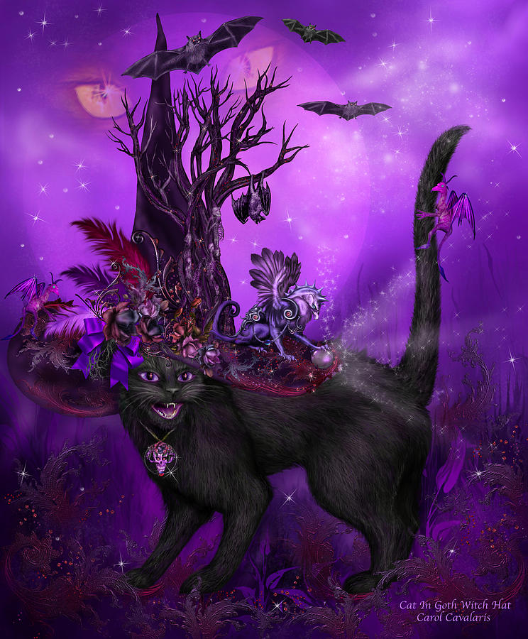 Cat In Goth Witch Hat Mixed Media by Carol Cavalaris