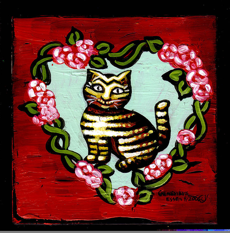 Cat Painting - Cat In Heart Wreath 2 by Genevieve Esson