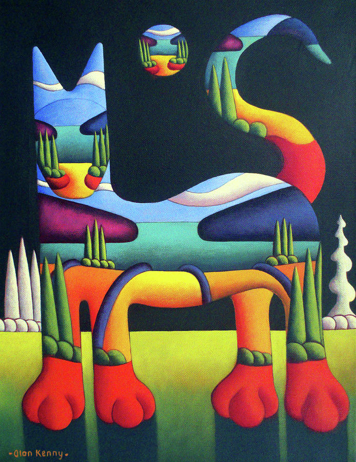Cat Painting - Cat In Landscape In Cat With White Trees  by Alan Kenny